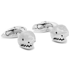 Deakin & Francis 18-Karat White Gold Diamond Shark Head Cufflinks