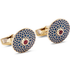 Deakin & Francis Big Ben Enamelled 18-Karat Gold Ruby Cufflinks