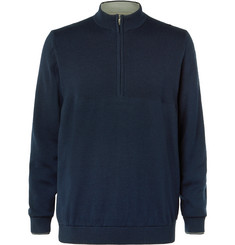 Adidas Golf AdiPure Ribbed Merino Wool and Pima Cotton-Blend Half-Zip Sweater