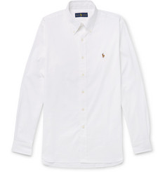 Polo Ralph Lauren White Button-Down Collar Cotton-Piqué Shirt