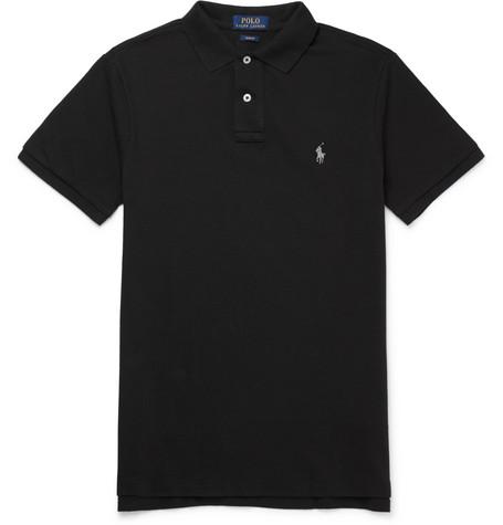 Slim-fit Cotton-piqué Polo Shirt - Black