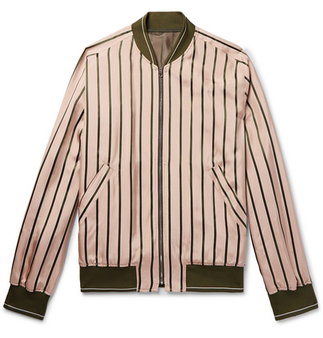 Striped Satin Bomber Jacket - Pink