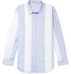 Solid Homme Panelled Striped Cotton-Poplin Shirt