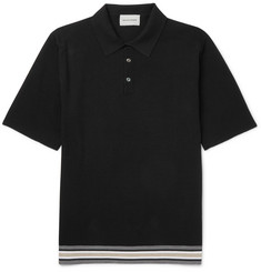Solid Homme Stripe-Trimmed Cotton and Silk-Blend Polo Shirt