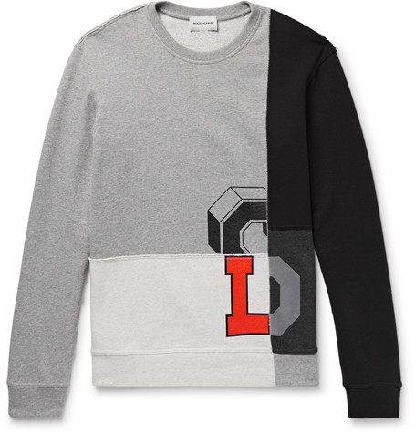 Solid Panelled Printed Loopback Cotton-jersey Sweatshirt - Gray yJ24PD8