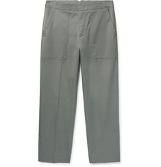 Solid Homme Cropped Stretch-Cotton Twill Trousers