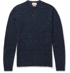 Hackett Alcantara Elbow-Patch Donegal Wool-Blend Sweater