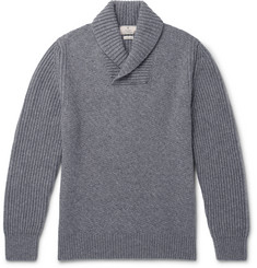 Hackett Shawl-Collar Textured Wool, Cashmere and Yak-Blend Sweater