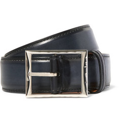 Berluti - 3.5cm Blue Classic Polished-Leather Belt