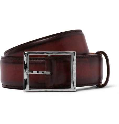 3.5cm Burgundy Classic Leather Belt