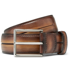 Berluti 3.5cm Brown Gaspard Polished-Leather Belt