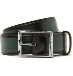 Berluti 3.5cm Green Classic Polished-Leather Belt