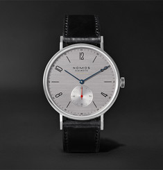 NOMOS Glashütte At Work Tangente Neomatik Automatic 39mm Stainless Steel and Leather Watch