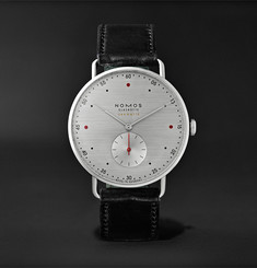 NOMOS Glashütte At Work Metro Neomatik Automatic 39mm Stainless Steel and Leather Watch, Ref. No. 1114