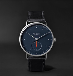 NOMOS Glashütte At Work Metro Neomatik Automatic 39mm Stainless Steel and Leather Watch