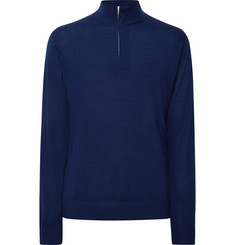 Dunhill Links - Faux Nubuck-Trimmed Wool, Silk and Cashmere-Blend Half-Zip Sweater