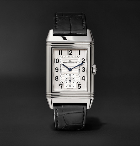 Reverso Classic Large Duoface 28mm Stainless Steel And Leather Watch - Black