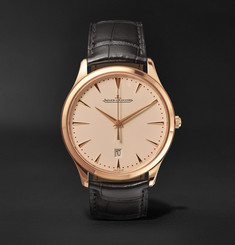 Jaeger-LeCoultre - Master Ultra Thin Date 40mm 22-Karat Rose Gold and Alligator Watch