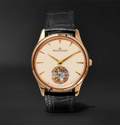 Jaeger-LeCoultre - Master Ultra Thin Tourbillon 40mm 18-Karat Rose Gold and Alligator Watch