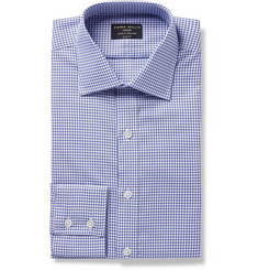Emma Willis Blue Slim-Fit Checked Cotton Oxford Shirt