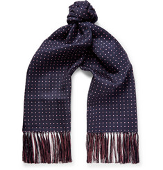 Emma Willis - Fringed Polka-Dot Silk-Twill Scarf