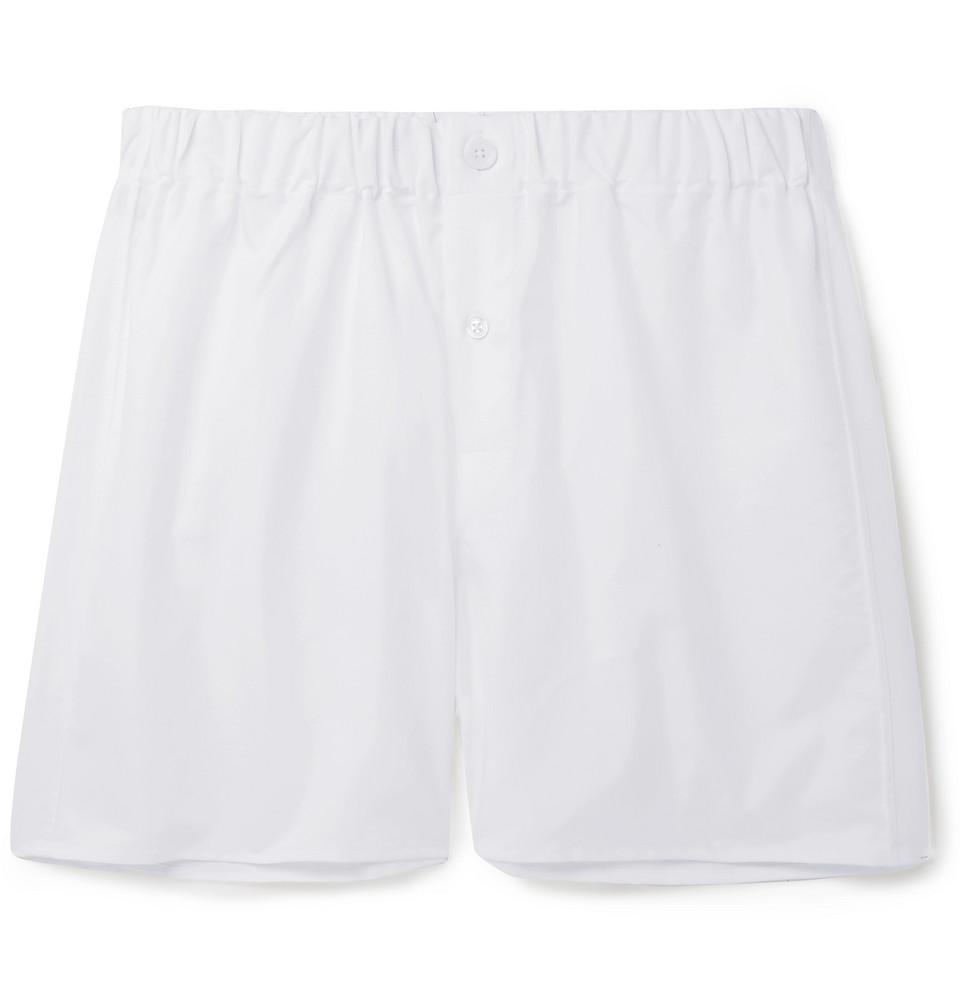Cotton Oxford Boxer Shorts - White