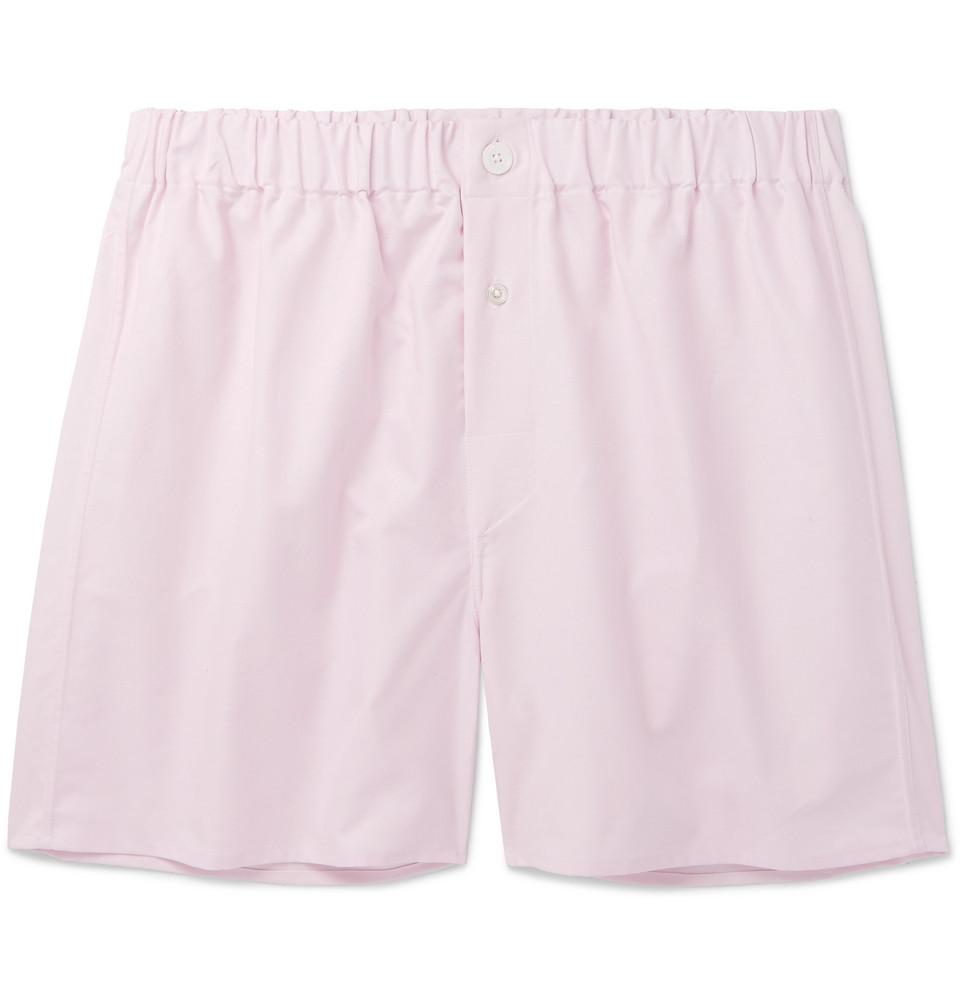 Cotton Oxford Boxer Shorts - Pink