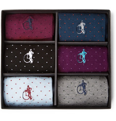 London Sock Co. - Spot of Style Six-Pack Stretch Cotton-Blend Socks