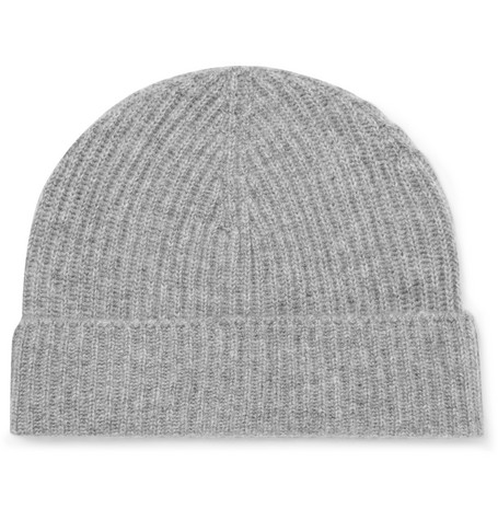 Ribbed Cashmere Beanie - Gray