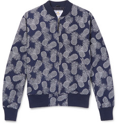 Golden Bear Pineapple-Print Textured-Cotton Bomber Jacket