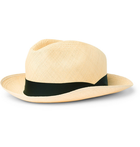 Grosgrain-trimmed Panama Straw Hat - Tan