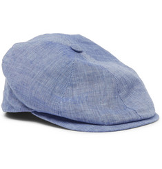Lock & Co Hatters Reverb Linen-Chambray Flat Cap