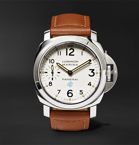 Luminor Marina Logo Acciaio 44mm Steel And Leather Watch - Tan