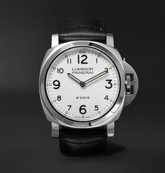 Officine Panerai Luminor Base 8 Days Acciaio 44mm Stainless Steel and Leather Watch