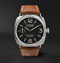 Officine Panerai - Radiomir Black Seal 8 Days Acciaio 45mm Stainless Steel and Leather Watch