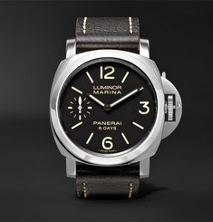 Officine Panerai - Luminor Marina 8 Days Acciaio 44mm Stainless Steel and Leather Watch