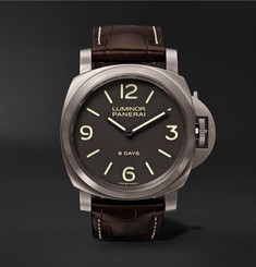 Officine Panerai - Luminor Base 8 days Titanio 44mm Brushed-Titanium and Alligator Watch