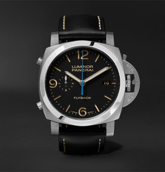 Officine Panerai Luminor 1950 3 Days Chrono Flyback Automatic Acciaio 44mm Stainless Steel and Leather Watch