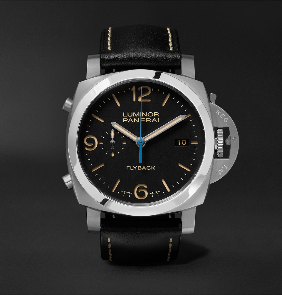 Luminor 1950 3 Days Chrono Flyback Automatic Acciaio 44mm Stainless Steel And Leather Watch - Black