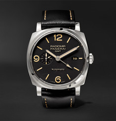 Officine Panerai - Radiomir 1940 3 Days GMT Automatic Acciaio 45mm Stainless Steel and Leather Watch
