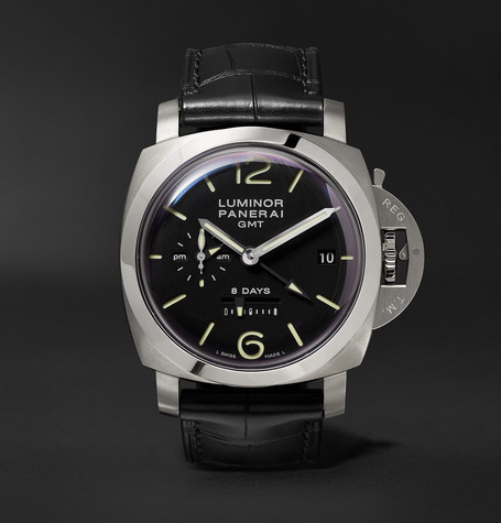 Panerai PAM00233 Luminor 1950 8 Days Gmt Acciaio 44mm Stainless Steel And Alligator Watch - Black