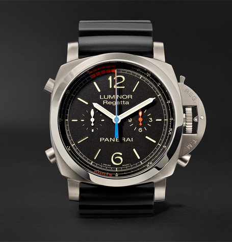 officine panerai male luminor 1950 regatta 3 days chrono flyback automatic titanio 47mm titanium and rubber watch