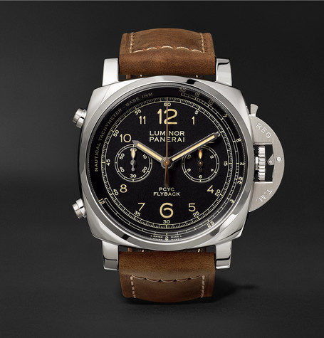 Panerai PAM00653 Luminor 1950 3 Days Chrono Flyback Automatic Acciaio 44mm Stainless Steel And Leather Watch - Black