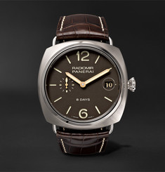Officine Panerai - Radiomir 8 Days Titanio 45mm Brushed-Titanium and Alligator Watch