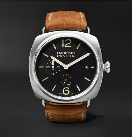 Panerai PAM00323 Radiomir 10 Days Gmt Automatic Acciaio 47mm Steel And Alligator Watch - Tan