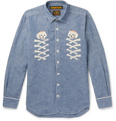 Neighborhood Embroidered Cotton-Chambray Shirt