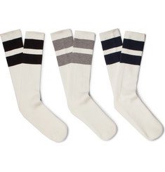 Neighborhood - Three-Pack Striped Cotton-Blend Socks