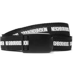 Neighborhood 2cm Black and White Printed Canvas Belt
