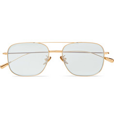 Cutler and Gross Square-Frame Aviator-Style Gold-Tone Sunglasses