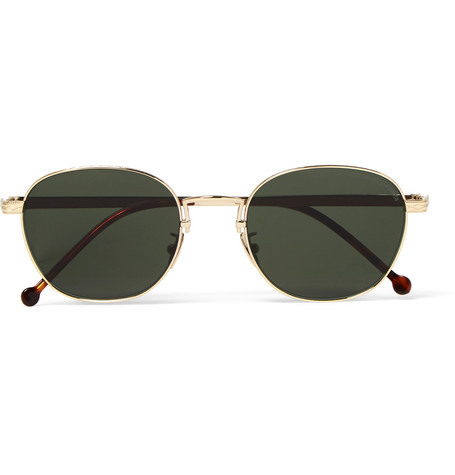 Cutler and Gross Round-frame Engraved Gold-tone Sunglasses - Gold